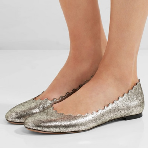 3dc38e065d91 Chloe Shoes - Chloe Scalloped Metallic Ballet Flat Size 7.5
